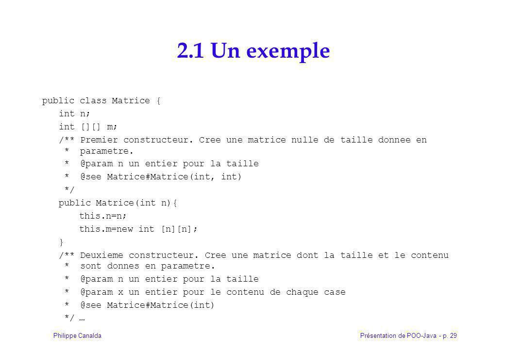 2.1 Un exemple public class Matrice { int n; int [][] m;